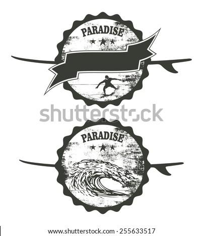 vintage stencil paradise surf shields - stock vector