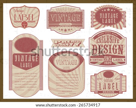 Vintage stickers, tags or labels collection on grungy white background. - stock vector