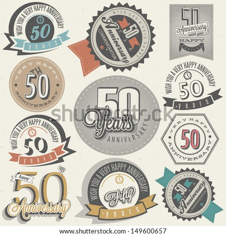 Vintage style 50 anniversary collection. Fifty anniversary design in retro style. Vintage labels for anniversary greeting. Hand lettering style typographic and calligraphic symbols for 50 anniversary. - stock vector
