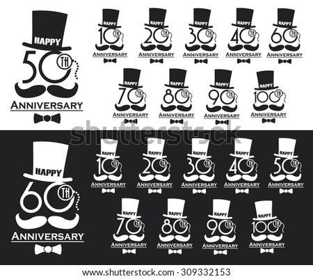 Vintage style anniversary sign collection. Anniversary cards design in steampunk style. - stock vector