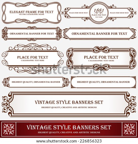 Vintage style banners and labels artistic design, page decoration, typographic elements, set of floral creative frames, decor ideas.  - stock vector
