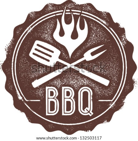 Vintage Style BBQ Barbecue Menu Stamp - stock vector