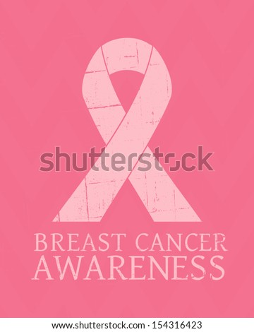 Vintage style Breast Cancer Awareness poster. - stock vector