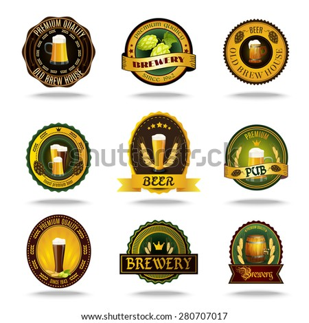 Vintage style brewery cellar bar traditional lager brand beer emblems labels set color abstract isolated vector illustration - stock vector