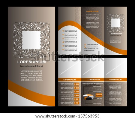 Vintage style brochure template design with modern art elements and ornament, pages layouts in color, classic colors and creative solutions for design and decoration - stock vector
