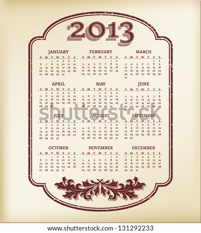 Vintage style calendar template for 2013 year. - stock vector
