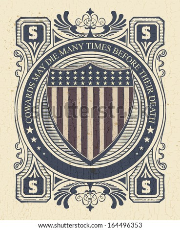 Vintage Style card with USA shield. Elements organized by layers. - stock vector