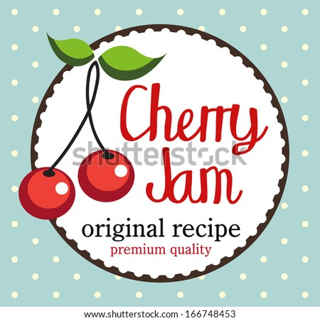 Vintage style cherry jam card. - stock vector