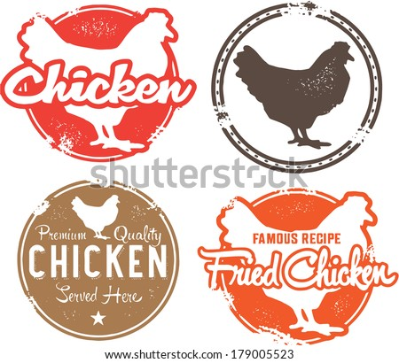 Vintage Style Chicken Menu Stamps - stock vector