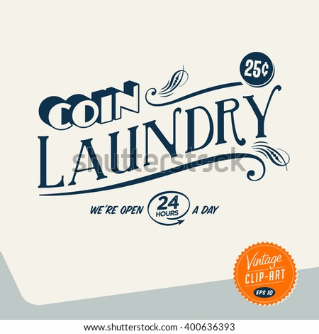 Vintage style Clip Art - Coin Laundry - Vector EPS10. - stock vector