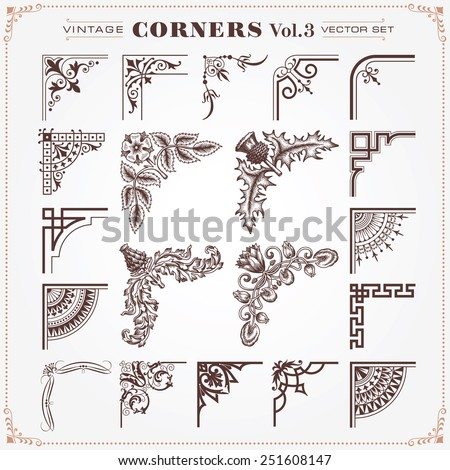 Vintage Style Design Elements Corners and Borders Set 3 Vector - stock vector