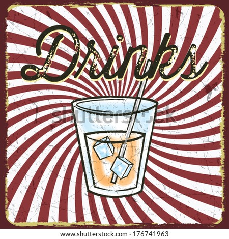 Vintage style drink poster - stock vector