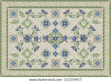 Vintage Style Floral and Leafy Carpet Design - stock vector