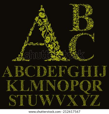 Vintage style floral letters font, vector alphabet. - stock vector