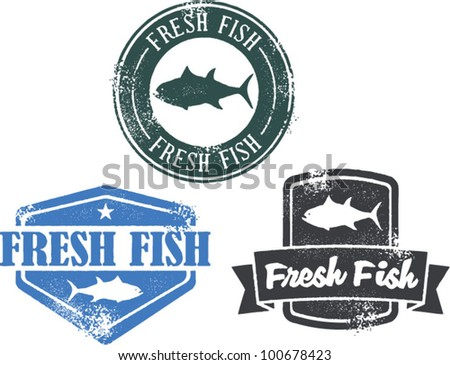 Vintage Style Fresh Fish Stamps - stock vector