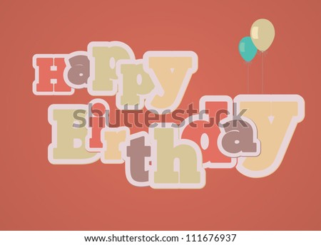 Vintage style happy birthday gift card on red background - stock vector