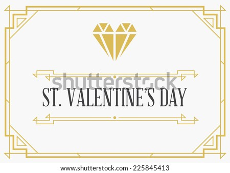 Vintage Style Invitation Sign for Valentines Day in Art Deco or Nouveau Epoch 1920's Gangster Era Vector - stock vector