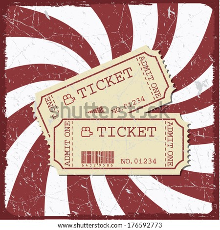 Vintage style moviet poster with movie tickets, movie time concept - stock vector