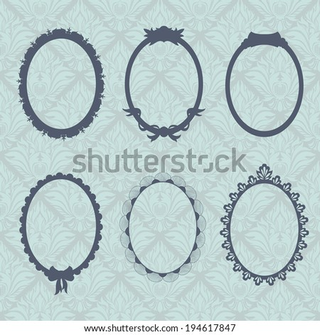 Vintage style oval frames against wallpaper background - stock vector