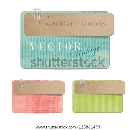Vintage style paper banners with cardboard tags attached  with paper clips - stock vector