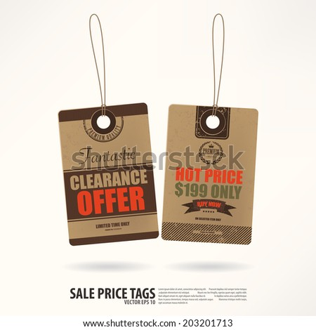 Vintage Style Price Tags. - stock vector