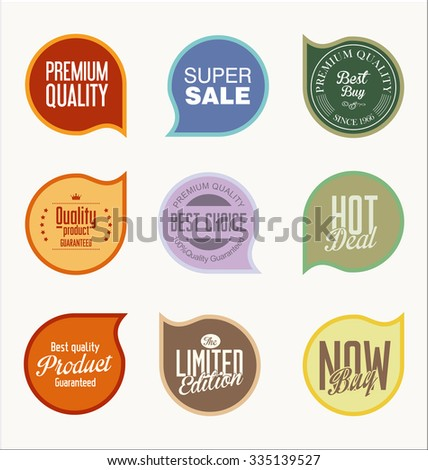 Vintage Style Promotional sale labels collection - stock vector