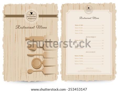 Vintage style restaurant menu design, design on wood background - stock vector