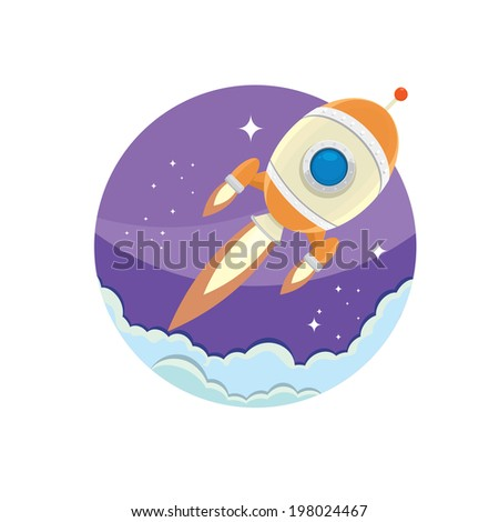 vintage style retro poster illustration of Space rocket in space. vector illustration - stock vector