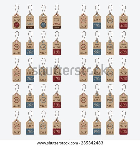 Vintage Style Sale Tags. - stock vector