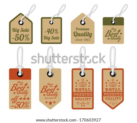 Vintage Style Sale Tags Design. Vector illustration - stock vector