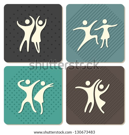 vintage style set of abstract dancing people - stock vector