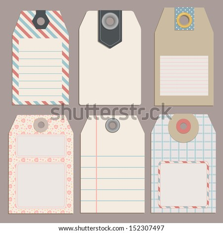 Vintage Style Tags for Design or scrapbooking - stock vector