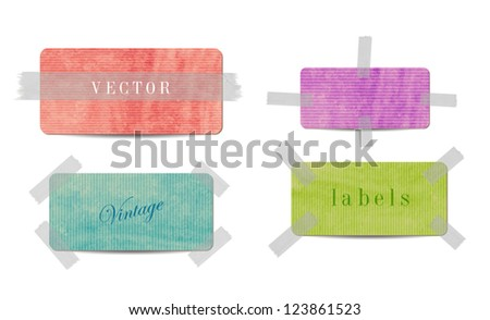 Vintage style textured colored paper cardboard banners with sticky tape - stock vector
