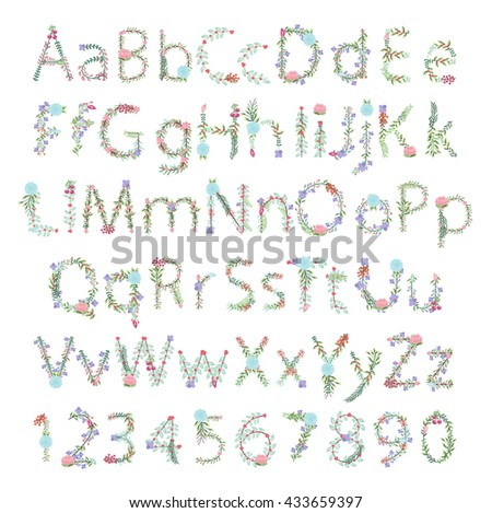 Vintage Style Vector Floral Alphabet with Uppercase and Lowercase Letters, and Numbers - stock vector