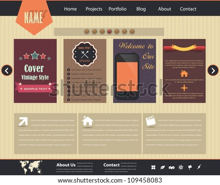 Vintage Style Website design vector elements - stock vector