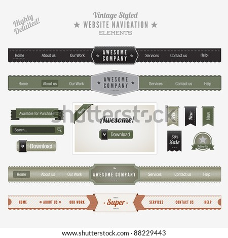 Vintage Style Website Navigation Elements - stock vector