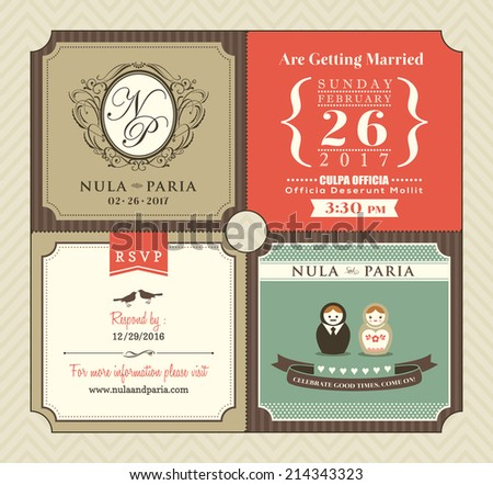 Vintage style Wedding Invitation card Template Vector - stock vector