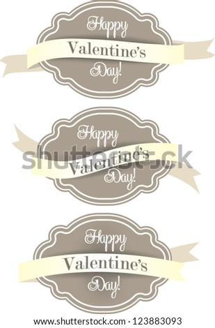Vintage Styled editable Labels and Ribbons / Banners, Collection, for Valentine's day, or other occasion, isolated on white background - stock vector