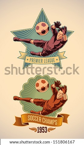 Vintage-styled soccer championship label including an image of goalkeeper. Editable vector. - stock vector