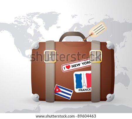 Vintage suitcase with stickers - stock vector