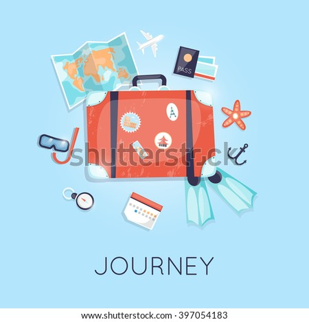 Vintage suitcase with stickers summer holiday map, flippers, compass, travel suitcase, summer vacation, time to travel, travel-ling on holiday journey. Vector illustration flat design. - stock vector