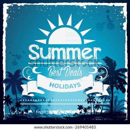 Vintage summer beach typography design with labels, icons elements - stock vector