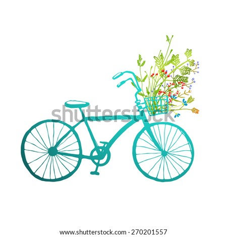 Vintage Summer Bike with Bunch of Flowers Card. Summer blue bicycle with a basket full of plants illustration. Vector EPS10. - stock vector