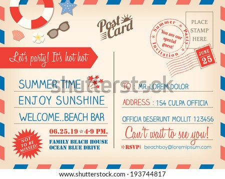 Vintage summer holiday postcard background vector template for invitation card - stock vector