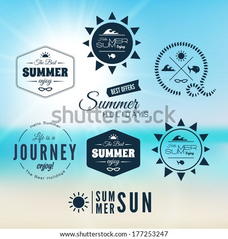 Vintage summer holidays typography design with labels logo, icons elements collection, vector background - stock vector