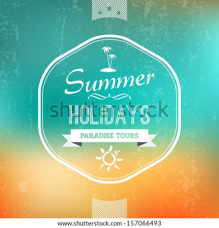 Vintage Summer Label in abstract background, vector design element.  - stock vector