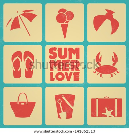 Vintage summer poster with icons / Retro colors - stock vector