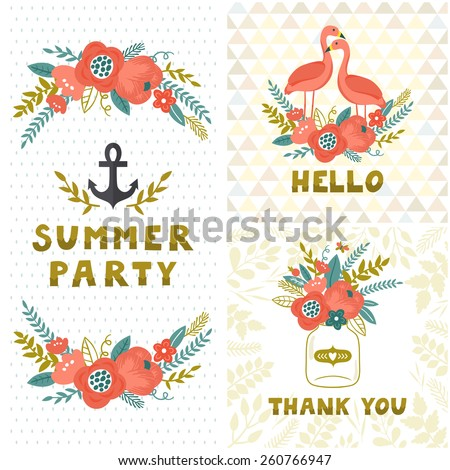 Vintage summer set. Floral backgrounds with flowers, flamingos, jar with bouquet, anchor and stylish golden text. Invitation template. - stock vector