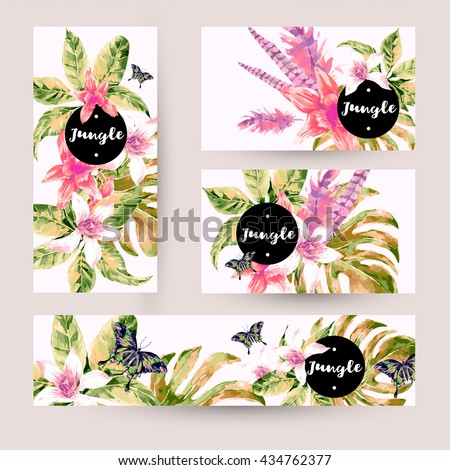 Vintage summer set with tropical green leaves and exotic flowers, butterflies, feathers in the bohemian style. Nature invitation on white. Botany. Collection vector decorative design elements. - stock vector