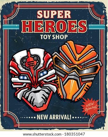 Vintage Super hero toy shop poster design - stock vector